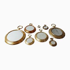Mid-Century Italian Stopwatch Mirrors, Set of 8