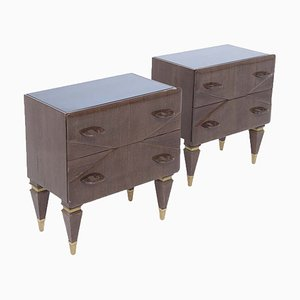 Mid-Century Italian Nightstands in Wood and Blue Glass, Set of 2