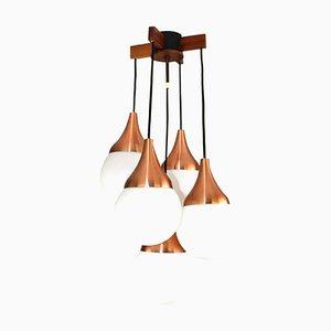 Lustre à 5 Lampes avec Globes en Verre Opalin, 1960s