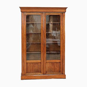 Small Louis Philippe Bookcase in Walnut Veneer, Late 19th Century