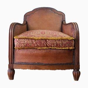 Club chair Art Déco in pelle, Francia, anni '30