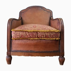 French Art Deco Leather Club Chair, 1930s