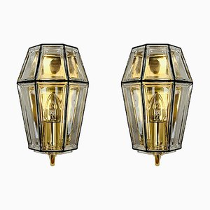 Brass and Glass Sconces from Limburg, 1960s, Set of 2