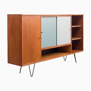 Hohes Sideboard aus Teak mit wendbaren farbigen Türen & Hairpin-Beinen, 1960er