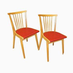 Chaises de Cuisine Rouges, 1950s, Set de 2