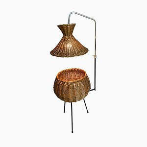 Rattan Nähtisch Stehlampe, 1960er
