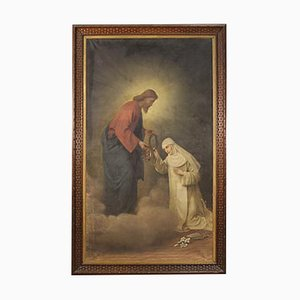 Antike italienische Malerei, Christ und Heilige Katharina von Siena, 19. Jh