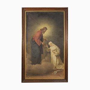 Antique Italian Painting, Christ and Saint Catherine of Siena, 19th-Century