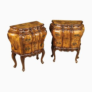 Venetian Bedside Tables Inlaid in Walnut, Burl, Maple and Beech, Set of 2