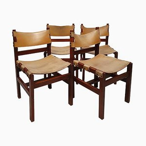 Brutalist Chairs in Elm & Leather, 1960s, Set of 4