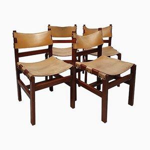 Brutalistische Stühle aus Ulmenholz & Leder, 1960er, 4er Set