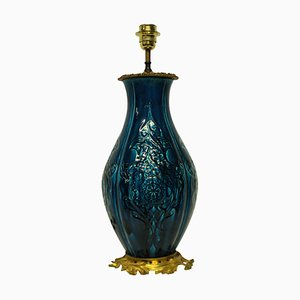 Chinese Blue Glazed Table Lamp, 1930s