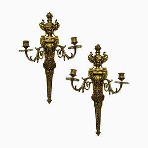 Wandleuchten aus vergoldeter Bronze mit Darstellung der Könige, 2er Set