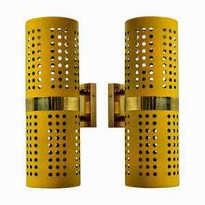 Wall Lights in Canary Yellow, Set of 2