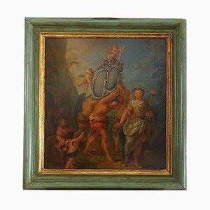 Escena alegórica francesa, óleo sobre tabla