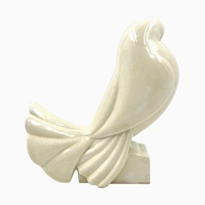 White Pigeon in Craquelé Ceramic by Jacques Adnet, France, 1925