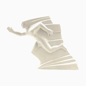 Futurist Runner Sculpture in Ivory Craquelé Ceramic from Saint Clement, France, 1940s