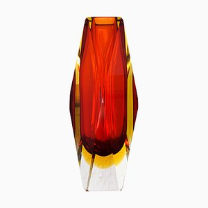 Italian Modern Red and Yellow Faceted Sommerso Murano Glass Vase by Mandruzzato
