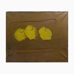 Sergio Scatizzi, Stillleben mit Zitronen, Öl auf Leinwand