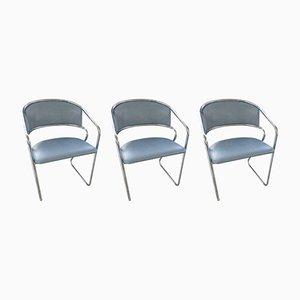 Röhrenförmige Esszimmerstühle, Italien, 1970er, 3er Set