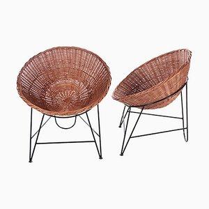 Wicker Chairs by Mathieu Matégot, 1950s, Set of 2