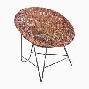 Sedia in vimini di Mathieu Matégot, Francia, anni '50