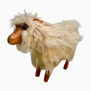 Vintage Pinewood Goat Sculpture with Long Fur and Leather, 1970s