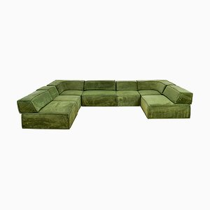 Modulares Cor Trio Sofa aus grünem Teddy Stoff, 7er Set