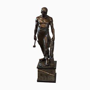Bronzeskulptur, Junge Schmiede von Franz Iffland, 19. Jh
