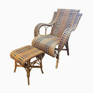 Rattan Chair with Ottoman. France, 1930s, Set of 2