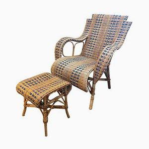 Sedia in vimini con poggiapiedi. Francia, anni '30, set di 2