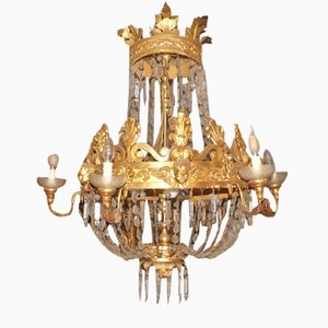 Drop Chandeliers in Carved and Gilded Wood with Wrought Iron Leaves, Late 1700s, Set of 2