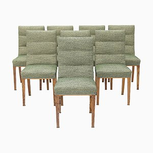 Chairs in Wood and Green Fabric, 1940s, Set of 8