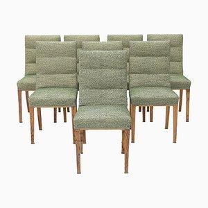 Stühle aus Holz und Grünem Stoff, 1940er, 8er Set