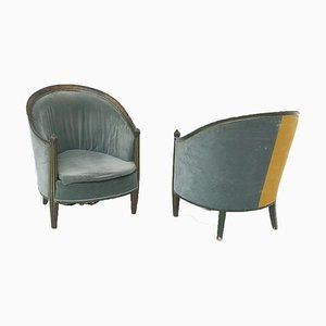 Französische Sessel aus grünem und gelbem Samt, frühes 20. Jh., 2er Set