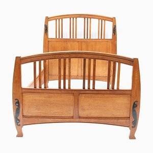 Art Nouveau Arts & Crafts Double Bed in Oak by Gustave Serrurier-Bovy, 1900s, Set of 4