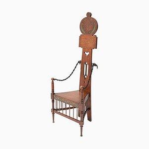 English Art Nouveau Arts & Crafts High Back Armchair in Oak, 1900s