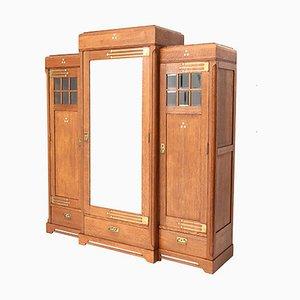 Art Nouveau Arts & Crafts Oak Armoire or Wardrobe, 1900s