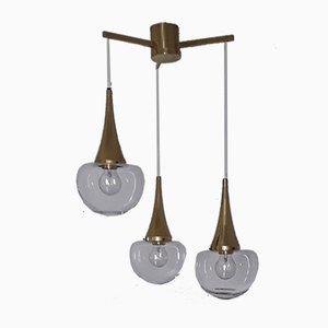 Vintage Kaskadenlampe mit goldenem Metallrahmen & 3 Schirmen aus klarem Glas von Kaiser, 1970er