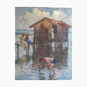 Peinture à l'Huile Alfred Schmidt, Am Chiemsee, Munich, 1930s