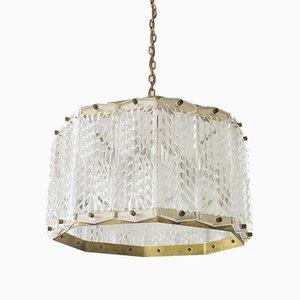 Mid-Century Scandinavian Brass and Glass Ceiling Light by Wiktor Berndt for Flygsfors, 1960s