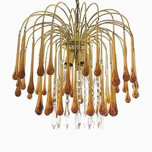 Vintage Murano Glass Teardrop Waterfall Ceiling Lamp