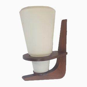 Vintage Scandinavian Wall Lamp in Teak and Milk Glass, 1960