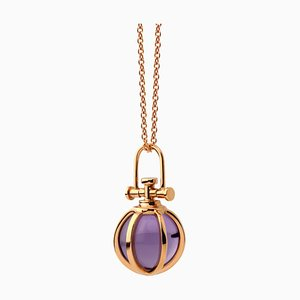 Modern Sacred 18k Solid Rose Gold Mini Crystal Orb Pendant Necklace with Natural Amethyst by Rebecca Li
