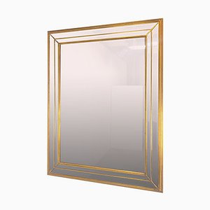 XL Regency Faceted Gold Mirror by Deknudt, Belgium, 1970s