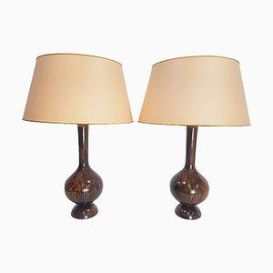 Vintage Scandinavian Rosewood Table Lamp, 1960, Set of 2