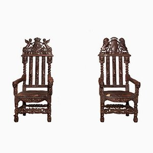 Tall Antique Carved Oak Barley Twist Throne Chairs, Set of 2