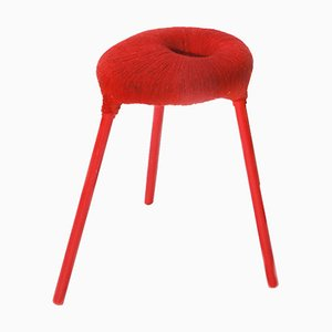 Vintage Red Yarn Wrapped PS Eskilstuna Stool from Ikea