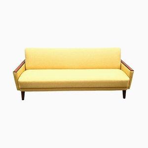 Mid-Century Danish 3-Seat Sofa Bed in Yellow Upholstery, 1960