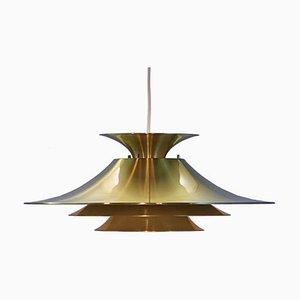 Lampe à Suspension XL en Laiton, Danemark, 1970s